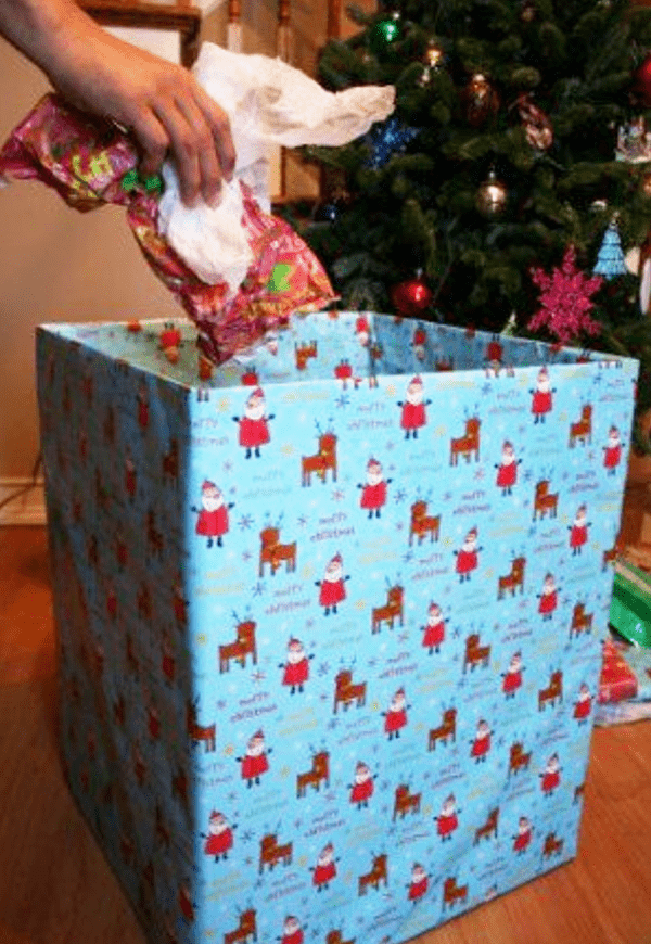 Box wrap in Christmas Paper