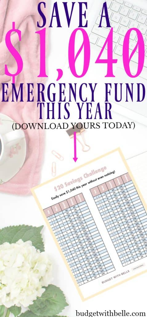 Save an emergency fund of over $1000 with this 12-month emergency fund challenge. Includes a free downloadable challenge cheat sheet to keep you on track!