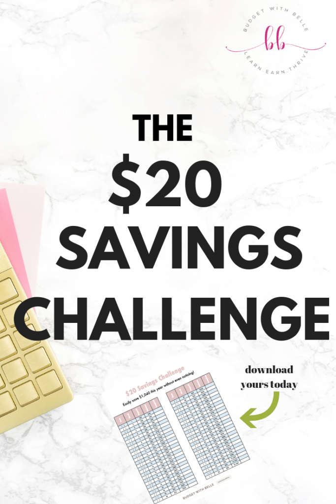 The $20 Money Saving Challenge is a weekly money challenge. That'll help you save over $1,000 in 52 weeks. Pin this saving money tips! #budgetwithbelle