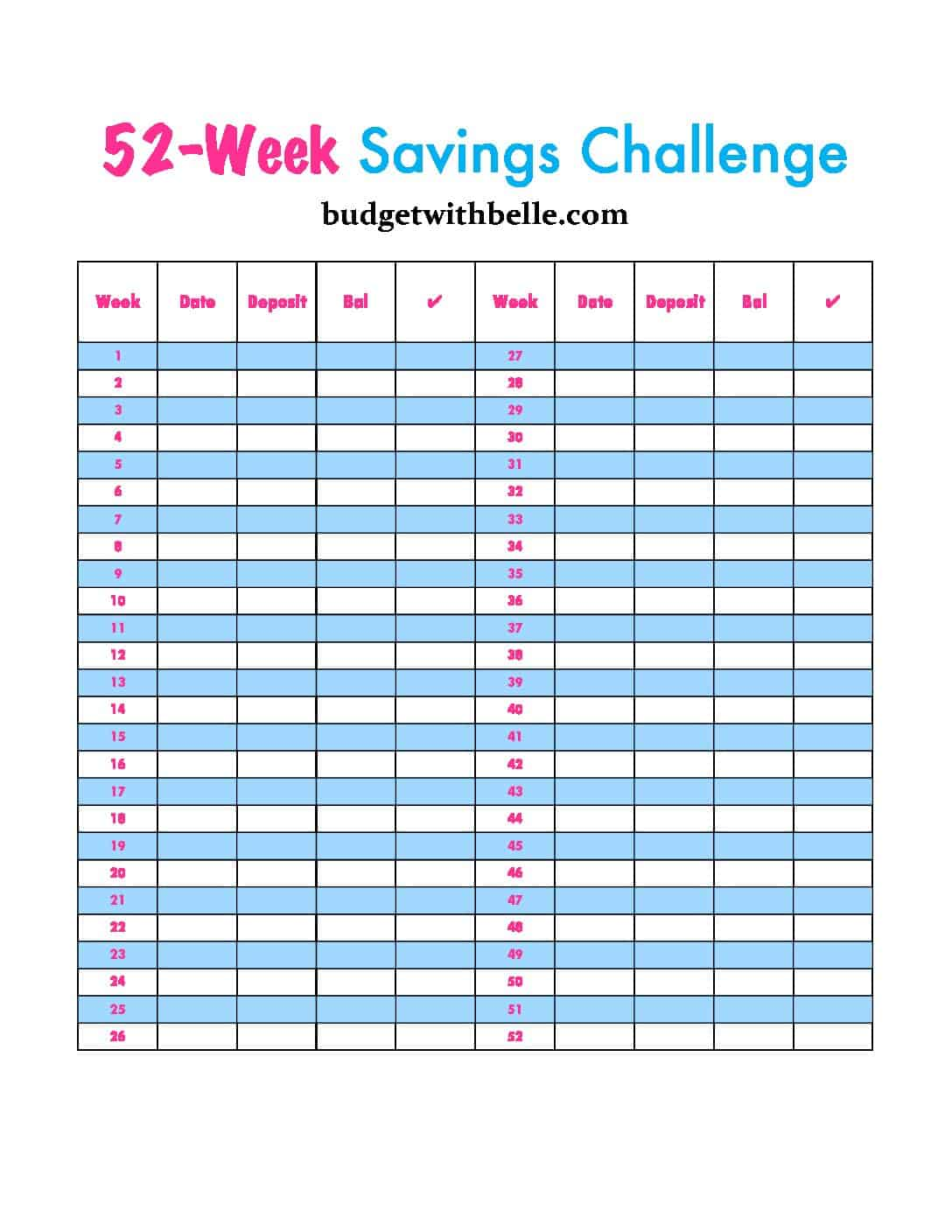 graphic about 52 Week Savings Plan Printable titled 52 7 days revenue conserving difficulty (cost-free printable within